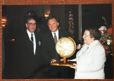 Ingeborg Hegenbart and Rufus Edmiston and ? NC Governor's Award presentation