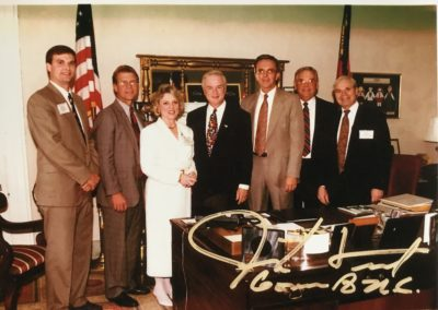1997 Governor's Award Winner L to R Scott Griffin, Eric Stromberg, Pamela Davison, Governor Jim Hunt, ?, ?, and John Dutton